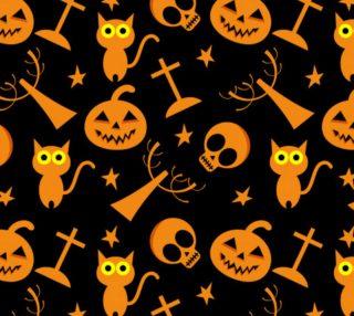 Aperçu de Halloween Symbols - Cats, Pumpkins, Stars, Skulls - Black Background