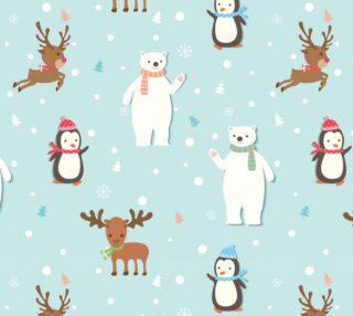 Aperçu de Christmas Polar Bear, Penguin, Reindeer and little trees