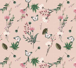 Aperçu de Vintage Style Pastel Pink Floral and Butterflies
