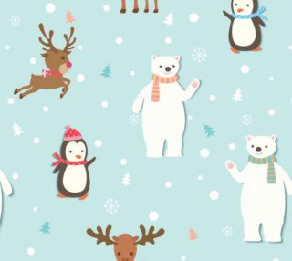 Winter - Polar Bears, Penguins and Reindeer Christmas Pattern preview