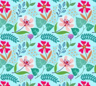 Aperçu de Pink Flowers on Aqua Background