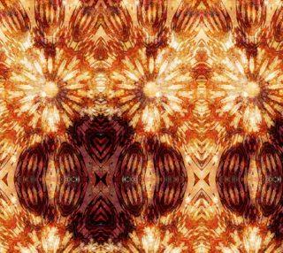Aperçu de Brown Orange Art Flower Stars Fabric