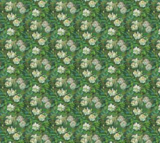 """White roses, green leaves"" classical floral pattern preview"