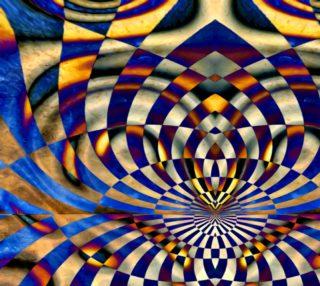 Aperçu de Grungy Squiggly Rectangles Mosaic Fabric
