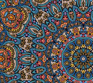 Oriental Watercolor Mandala Blue Orange Fabric preview