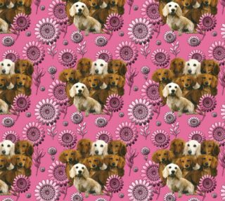 Dachshunds and Daisies Fabric preview
