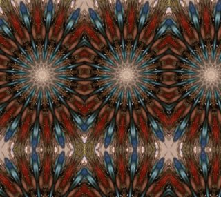 Kaleidoscopic Feather Look Design Brown Red Blue Fabric preview