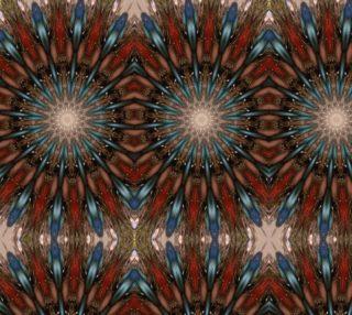 Aperçu de Kaleidoscopic Feather Look Design Brown Red Blue Fabric