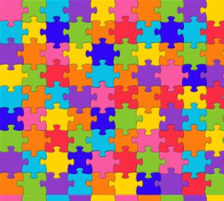 Funny Colorful Jigsaw Puzzle Pieces Fabric preview