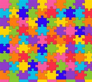 Aperçu de Funny Colorful Jigsaw Puzzle Pieces Fabric