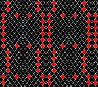 Black White Red Diamonds Pattern Fabric preview