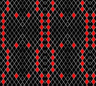 Aperçu de Black White Red Diamonds Pattern Fabric