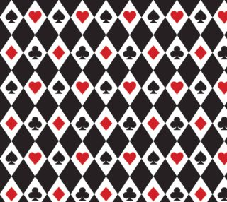 Casino - Hearts, Clubs, Spades, Diamonds Harlequin Pattern Black  preview