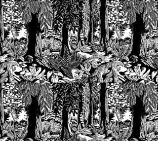 Landscape Art Print Fabrics Black & White Forest Fabrics preview
