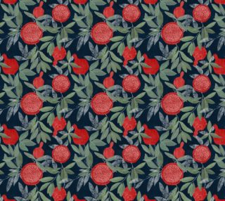 Red pomegranates on navy preview