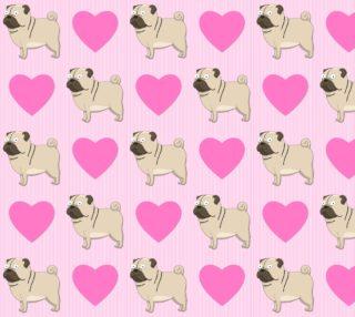 Aperçu de Pugs and Hearts on Pink Stripes