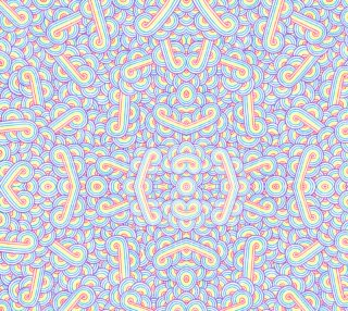 Aperçu de Rainbow and white swirls doodles Fabric
