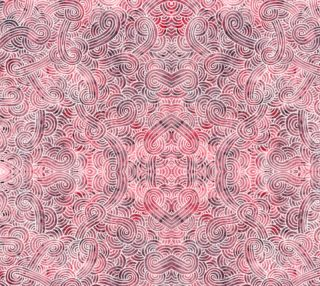 Aperçu de Red and white swirls doodles Fabric