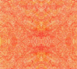 Aperçu de Orange and red swirls doodles Fabric