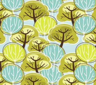 Aperçu de Retro Trees - Blue and Green