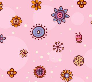 Aperçu de Adorable Flowers on Pink Background Baby Girl