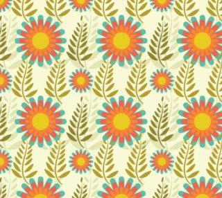 Aperçu de Retro Vintage Mod Floral - Orange, Pink, Aqua and Green