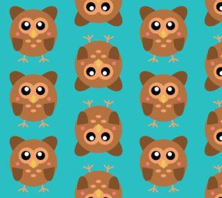Aperçu de Cute Owls on Aqua Background