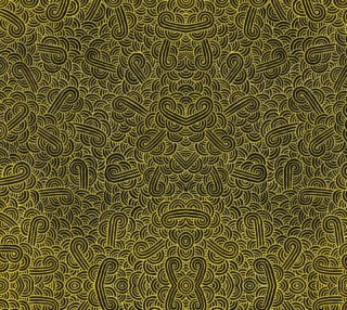 Aperçu de Faux gold and black swirls doodles Fabric