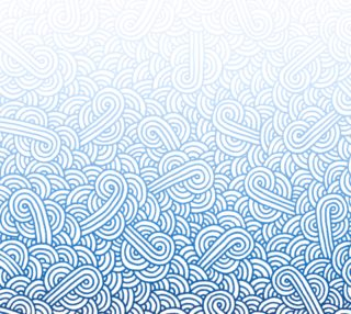 Aperçu de Gradient blue and white swirls doodles Fabric