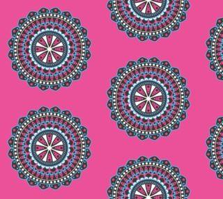 Aperçu de Mandala Medallion Vintage Ornament on Bright Pink Background