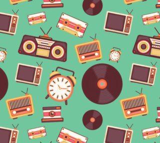 Aperçu de Vintage Music - Vinyl, TV, Alarm Clock, Cassette Tapes on Green Background