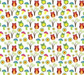 Aperçu de Adorable Retro Owl Fabric