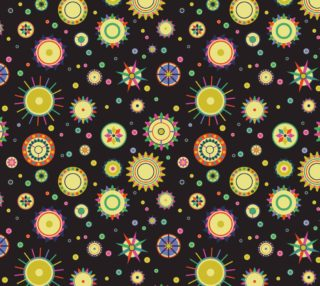 Aperçu de Abstract Flowers - Retro Flowers on Black Background