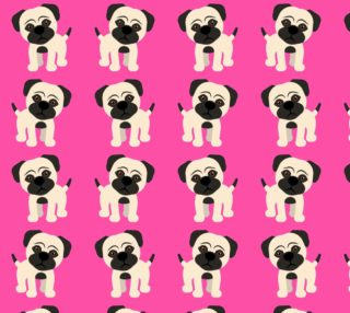 Aperçu de Adorable Pugs on Pink Background