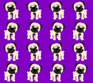 Aperçu de Adorable pugs on Purple background