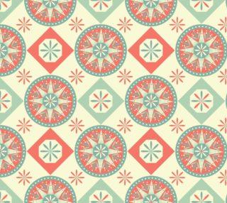 Aperçu de Pretty Circles and Diamonds in Aqua, White, Coral, Abstract Flowers, Retro