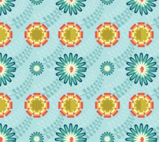 Aperçu de Retro Mod Flowers - Aqua, Teal, Orange, Green on Pastel Aqua Background