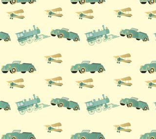 Aperçu de Cute Vintage Transportation - Car, Train, Vintage Airplane