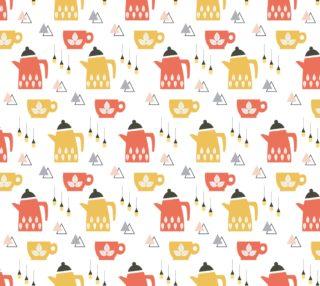 Aperçu de Sweet Vintage Kitchen Fabric - Teapot and Teacups