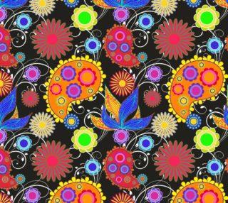 Aperçu de Retro Mod Paisley Floral - Bright Colors on Black Background