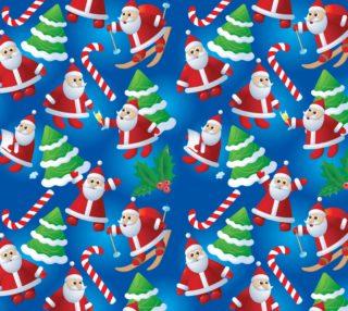 Aperçu de Adorable Santa Christmas Fabric - Blue