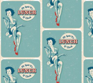 Aperçu de Vintage Fun Fabric - It's Lunch O'Clock
