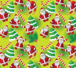 Aperçu de Adorable Santa Fabric - Green