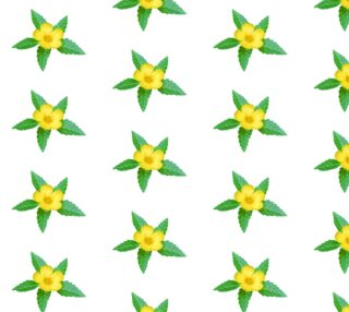 Cute Yellow Flower with Leaves Photo Pattern preview