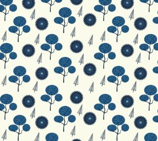Aperçu de Retro Mod  Blue Flowers