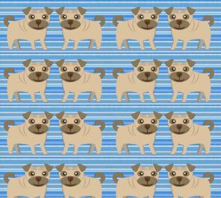 Aperçu de Pugs on Blue Stripes