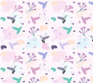 Aperçu de Hummingbird and flower pastel repeat pattern