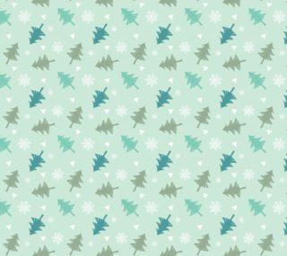 Aperçu de Blue Christmas Trees on Pastel Blue Background