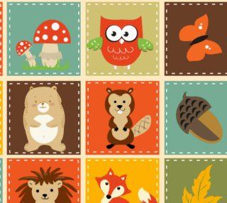 Aperçu de Fall Friends - Raccoon, bunny, fox, hedgehog owl, butterfly, leaves, mushrooms