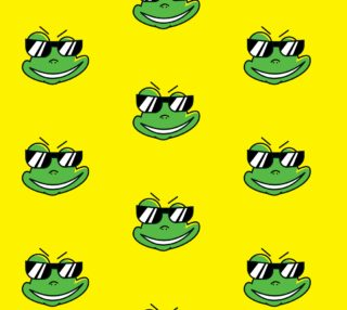 Aperçu de Funny Frog With Sunglasses on Yellow Background